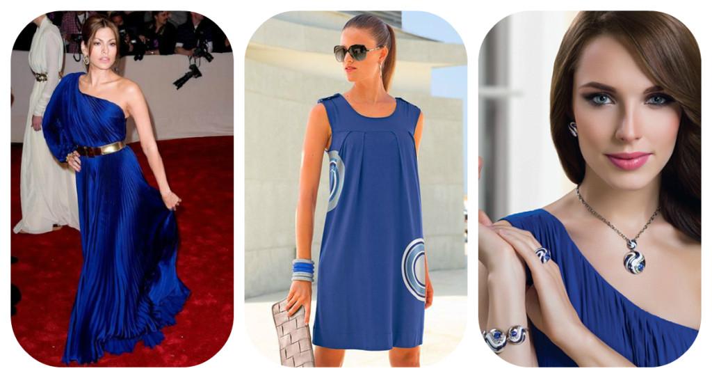 Что одеть к синему длинному платью
