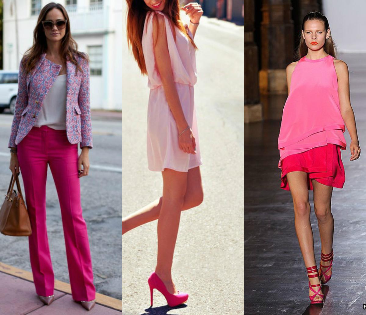 Ярко-розовый с какими цветами сочетается фото