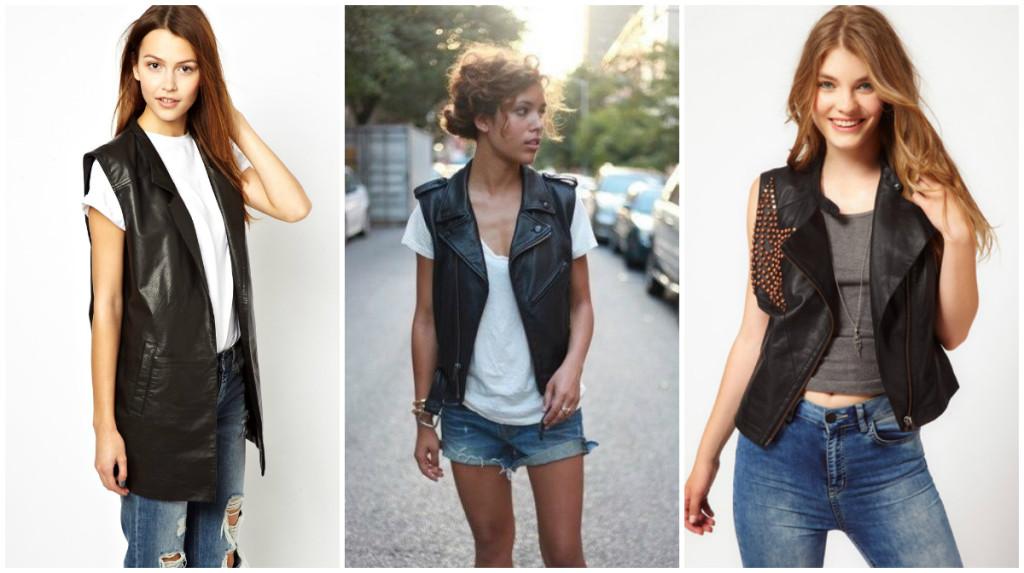 Кожаные жилетки женские с чем носить