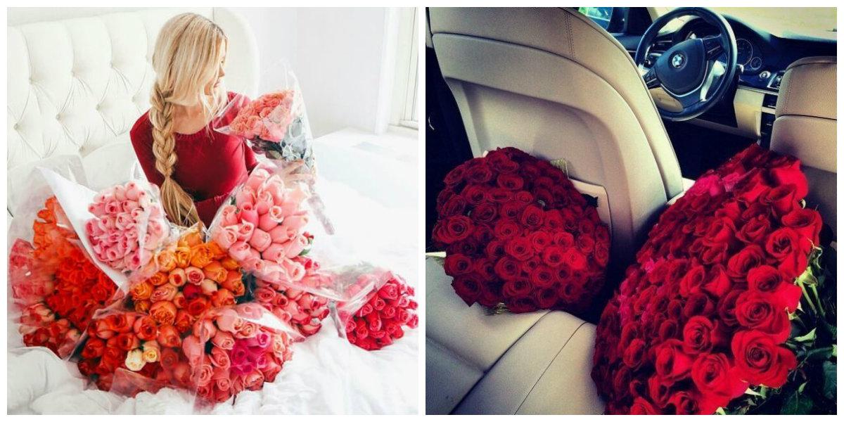Девушка в подарках и цветах 65